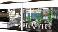 咖啡厅餐厅商业店铺室内模型