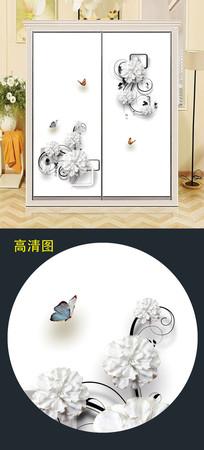 立体花朵衣柜移门图案