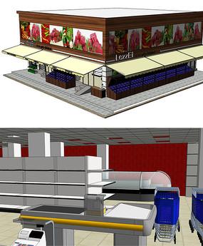 商店超市建筑整体空间SU