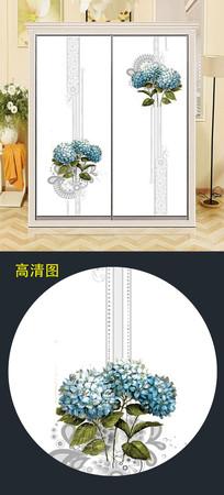 时尚大气花衣柜移门图案