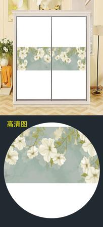 鲜花衣柜移门图案