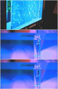 显微镜显示蛔虫细胞细菌病毒蠕动视频