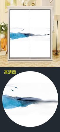 中式水墨衣柜移门背景衣柜门图案 JPG