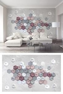 3d立体六边形马赛克电视背景墙