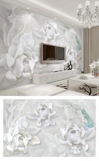 3d立体牡丹花浮雕电视背景墙