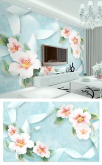 3d立体丝带花朵电视背景墙