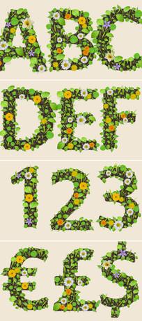 ae树叶花卉组成的字母数字包模板图片
