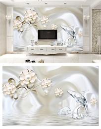 白色丝绸水纹海豚3d电视背景墙