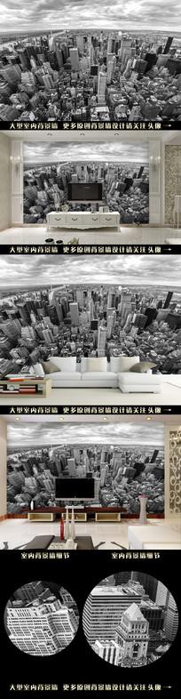 城市高空电视背景墙