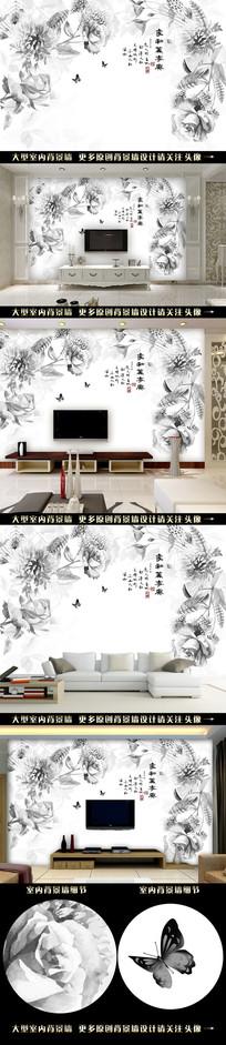 抽象素描花藤电视背景墙