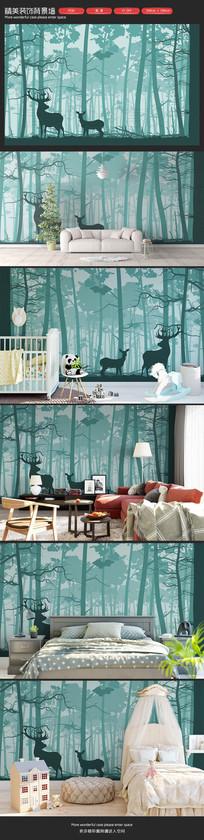大气森林雨林麋鹿客厅沙发背景墙