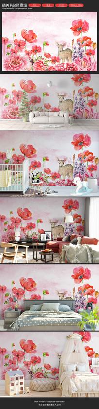 红色手绘花朵小鹿卧室客厅背景墙