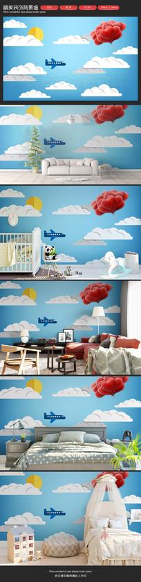 可爱天空小飞机儿童房卡通背景墙