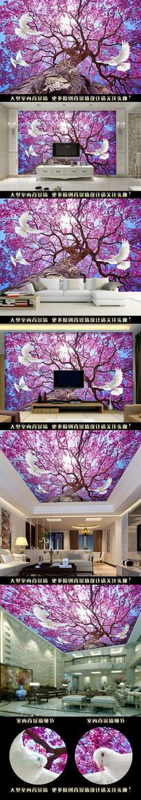 浪漫花鸟树花电视背景墙