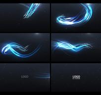 蓝色粒子流光线AE模板视频