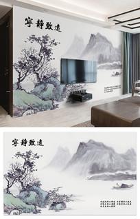 宁静致远新中式山水电视背景墙