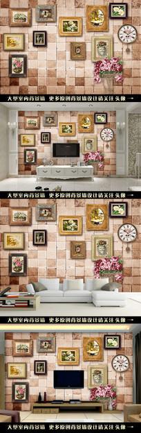 欧式油画复古背景墙