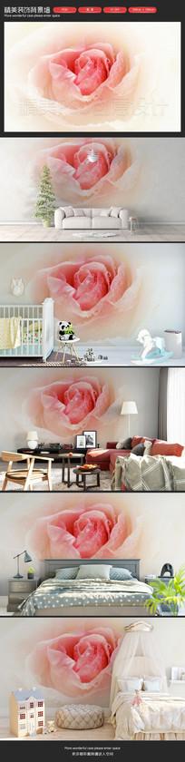 清新粉色玫瑰沙发背景墙