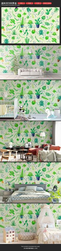 清新绿色仙人掌植物卧室客厅沙发背景墙