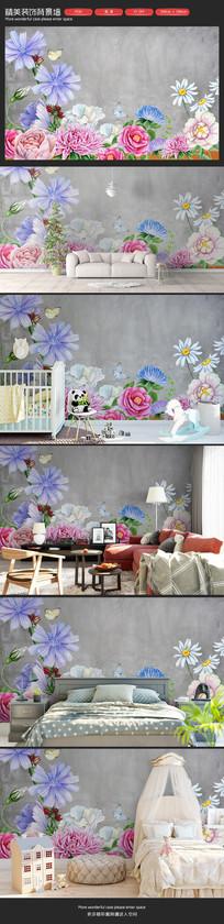 清新手绘花朵卧室客厅沙发背景墙