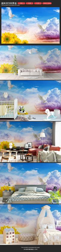 清新自然天空卧室客厅沙发背景墙 PSD