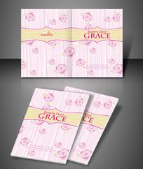 时尚粉色柔美花纹PSD封面