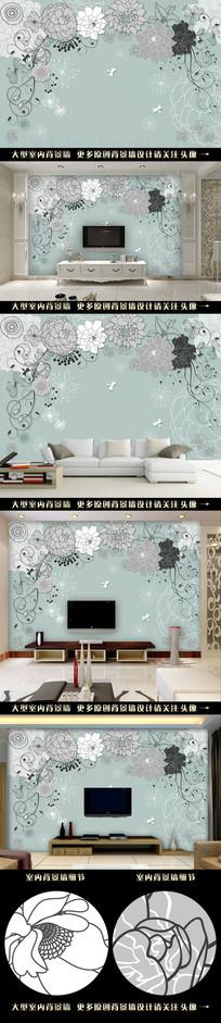 手绘抽象复古花朵电视背景墙