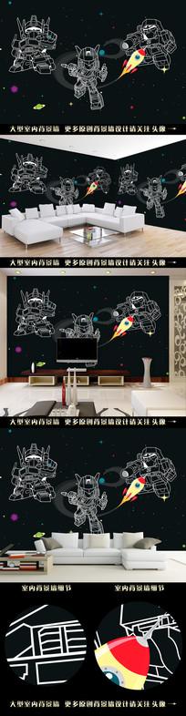 手绘抽象机器人电视背景墙