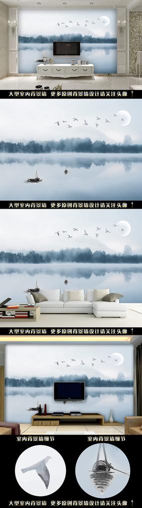 手绘山水飞鸟电视背景墙