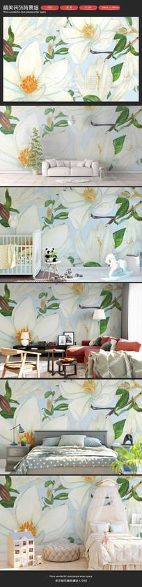 小清新文艺花朵卧室背景墙