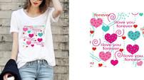 心形印花图案 女T恤图案 CDR