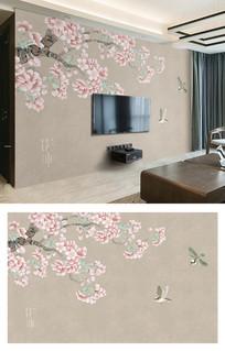 新中式梅花飞鸟亚麻电视背景墙