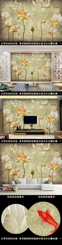 油画荷花复古手绘背景墙