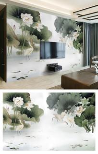 中国风新中式荷花仙鹤电视背景墙