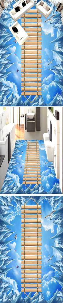 冰川蓝天白云木桥走道展厅3D地板户外地板