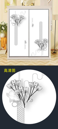 大气现代移门衣柜门图案