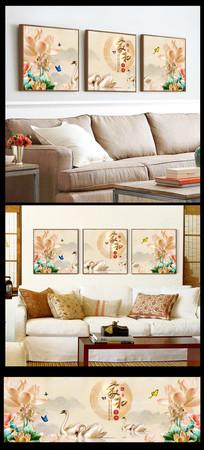 家和富贵浮雕荷花天鹅湖三联装饰画图片
