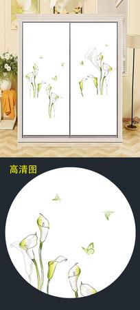 简约花朵衣柜移门图片背景衣柜门