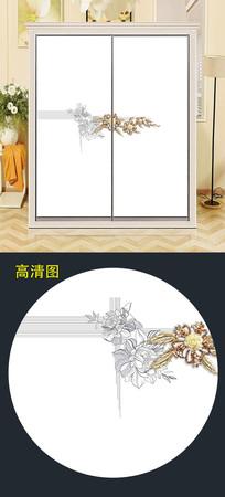 立体花衣柜移门简约背景衣柜门