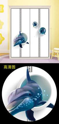 立体鱼衣柜移门图片背景衣柜门