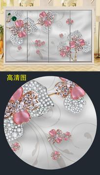 立体珠宝花纹移门衣柜门图案