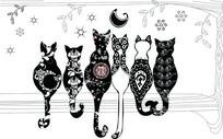 猫艺术背景墙