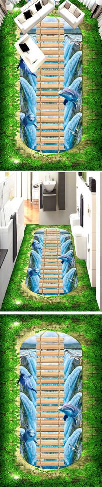 木板桥小路河流3D地板地画