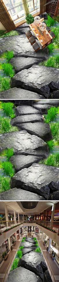 石头走道3D立体地画