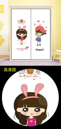 小女孩儿童卡通衣柜移门图片柜门
