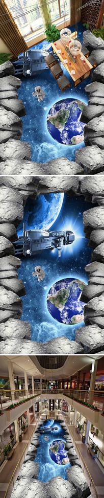 宇宙星空3D立体画地画 PSD