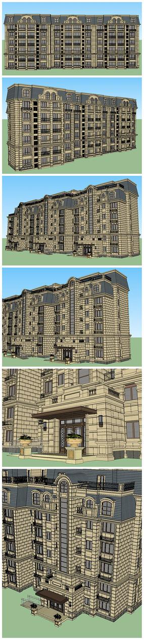下载 现代北欧套房设计su模型 现代中式公寓su模型 高档商业住宅楼su图片