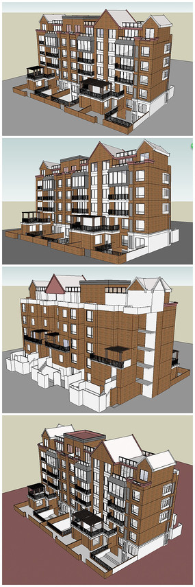 多层住宅小区公寓SU模型 skp