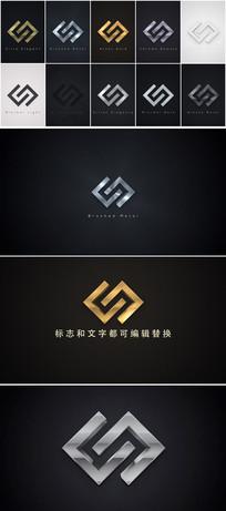多个金属质感3d立体企业logo标志展示ae模板