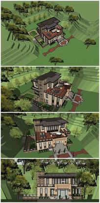 法式山村别墅SU模型
